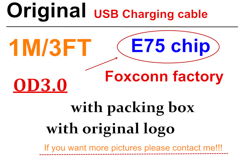 10 Pcs/lot With packaging Genuine 1 m/3ft E75 Chip OD: 3.0mm Data USB charger