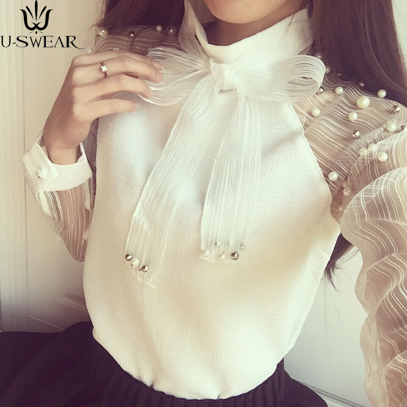 Blouses & Shirts Bright Womens Shirts Fashion Casual Bottoming Shirts Mesh Bows Large Yards Nailing Collar High-purity Bottoming Chiffon Shirt Beads As Effectively As A Fairy Does