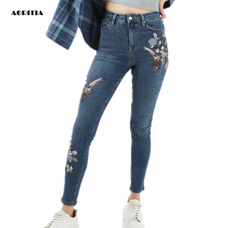 2017 Woman Embroidery Denim Ankle-length Pants Casual Jeans with Embroidery