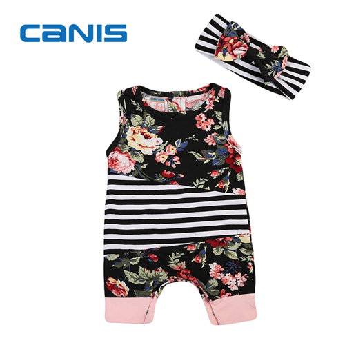 01d0a795d Baby Girls Summer Clothes Newborn Baby Girls Floral Romper Striped ...