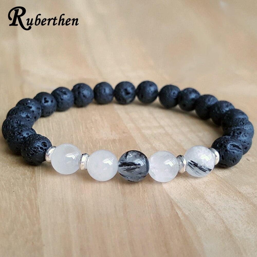 Ruberthen New Design Men`s Bracelet Rutilated Quarz Lava Stone Bracelet 2018 Designer Balance Stones Energy Bracelet