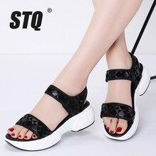 STQ 2020 Mùa Hè Nữ Đế Bằng Giày Nữ Đế Xuồng Nền Tảng Sandalias Khóa Giày Sandal Cao Gót Quai 968