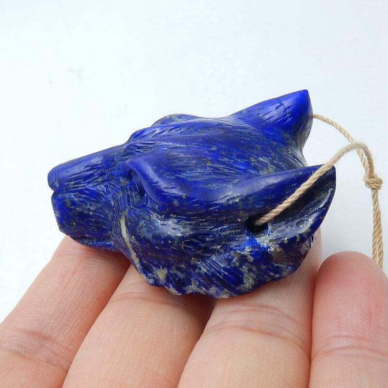 Perle de bijoux à bricoler soi-même Animal sculpté Lapis Lazuli naturel de haute qualité 42x37x18mm 37.2g tête de loup à la main à la mode pour ses meilleurs cadeaux - 3
