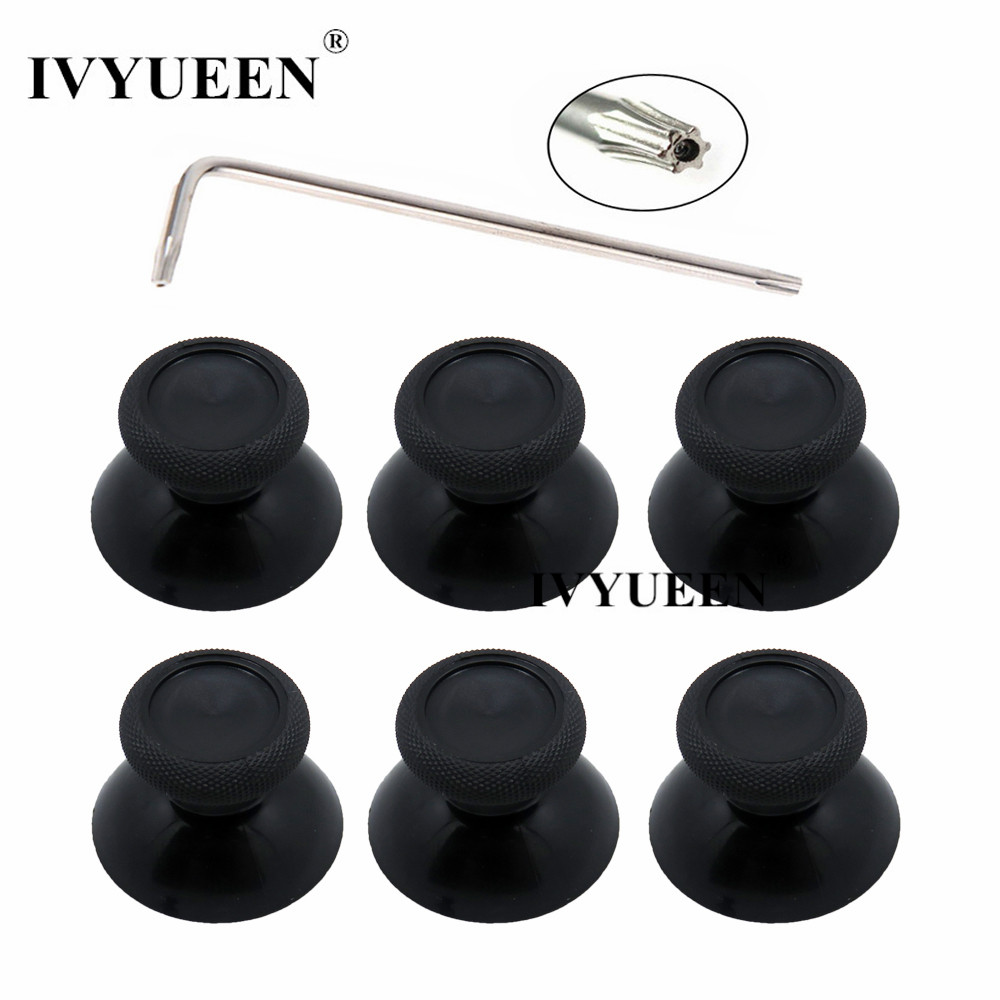 IVYUEEN 6 Pcs Black 3d Analog Joystick Stick For XBox One X Elite S Slim Controller Analogue Thumbsticks Caps Mushroom With Tool