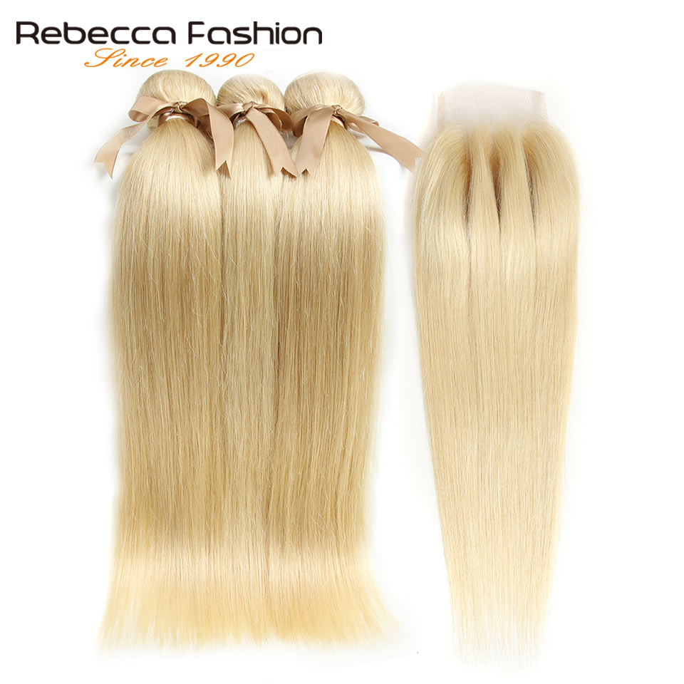 Image 3 - Rebecca 613 Blonde Bundles With Closure Malaysian Remy Straight Human Hair 3 Bundles With Closure Free Shipping-in 3/4 Bundles with Closure from Hair Extensions & Wigs