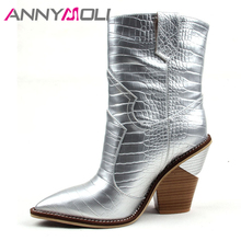 ANNYMOLI Winter Ankle Boots Women Natural Genuine Leather Strange Style Heel Short Boots Super High Heel Ladies Shoes Fall 35-43 цена