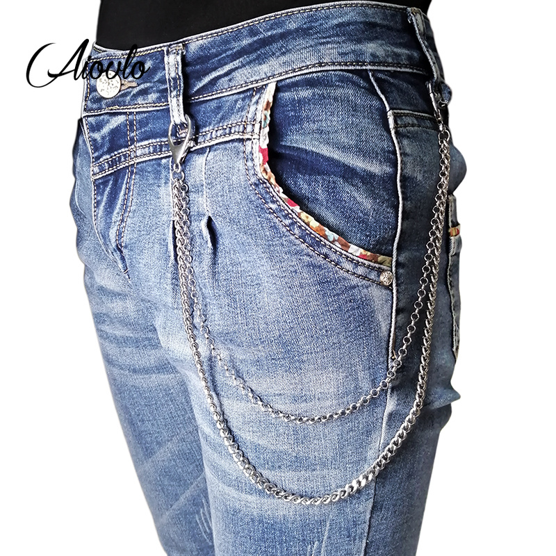 2in1 Stainless Steel  Wallet Belt Chain Rock Punk Trousers Hipster Pant Jean Keychain Silver Ring Clip Keyring HipHop Jewelry