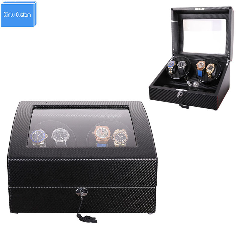 Luxury Storage&Display Automatic Watch Winder Box Accessories Japan Mabuchi Motor Box 2018 New Design Black Carbon Fiber Leather 2016 latest luxury 5 modes german motor watch winder yellow spray paint wooden white pu leater inside automatic watch winder