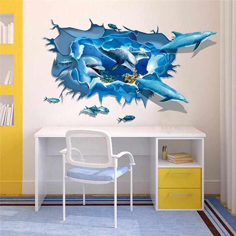 60 90cm 3d under sea world world wall sticker bathroom for Dolphin bathroom design