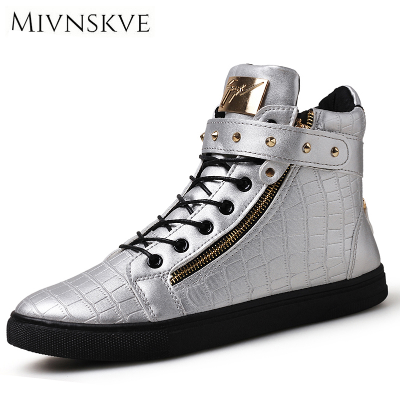 MIVNSKVE Fashion Designer Handmade Pu Leather Men Shoes 2017 Autumn High Top Round Toe Zipper Men Casual Shoes Flat Shoes Men