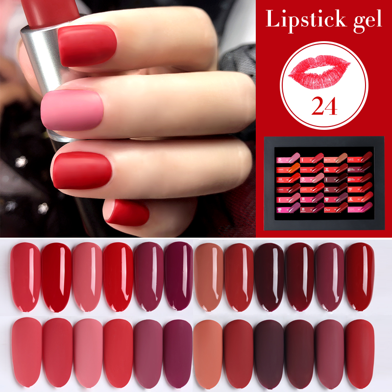 24 Lipstick Color/S Gel Soak Off UV LED Gel Nail Polish UV Gel Nail Polish Long Lasting Beauty Salon Nail Art Gel Polish new cnd shellac nail gel polish gel long lasting soak off gel nail led uv 7 3ml