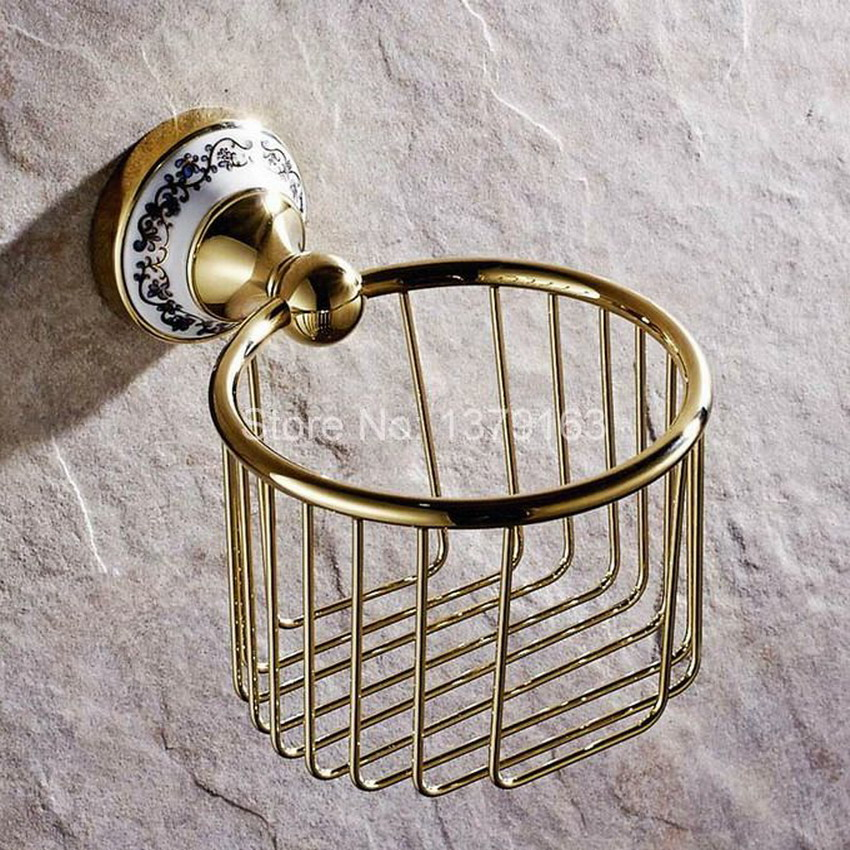 Bathroom Accessories Polished Gold Brass Ceramic Flower Wall Mounted Toilet Paper Roll Holder Shower Storage Basket Aba257
