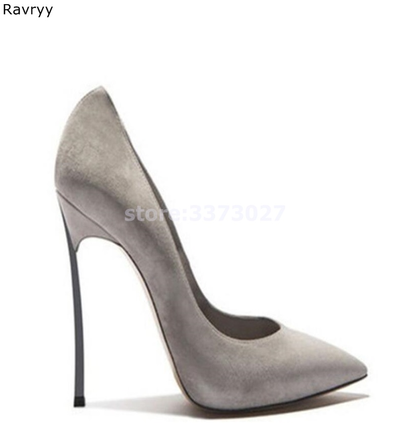 Sexy Pumps Dress-Shoes Heel Pointed-Toe Party Slip-On Women's Metal Gray Suede Thin Female