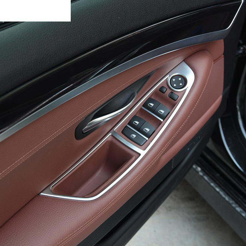 chrome car interior accessories window button panel trim for bmw 5 series f10 520 525 2011 2017. Black Bedroom Furniture Sets. Home Design Ideas