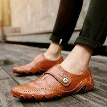 Для мужчин повседневная обувь Британский стильные Мокасины пояса из натуральной кожи туфли без каблуков zapatos hombre Лоферы для женщин Мужская зим