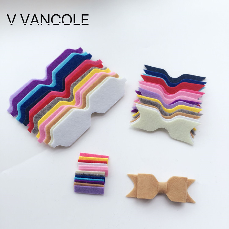 NEW Diy Non-Woven Felt Fabric Cloth DIY Felt Bow Headwear Without Clip For Accessories  10set/lot