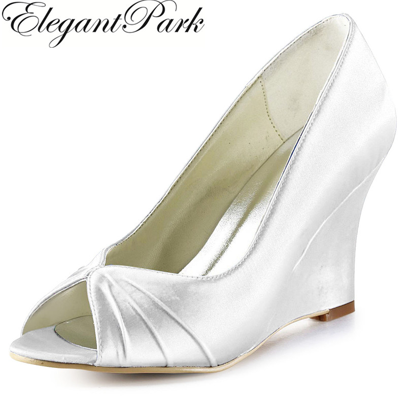 EP2009 Woman Shoes White Ivory High Heel Peep Toe Satin Bridesmaid Bride Wedding Bridal Wedges Lady Prom Party Pumps Silver Blue