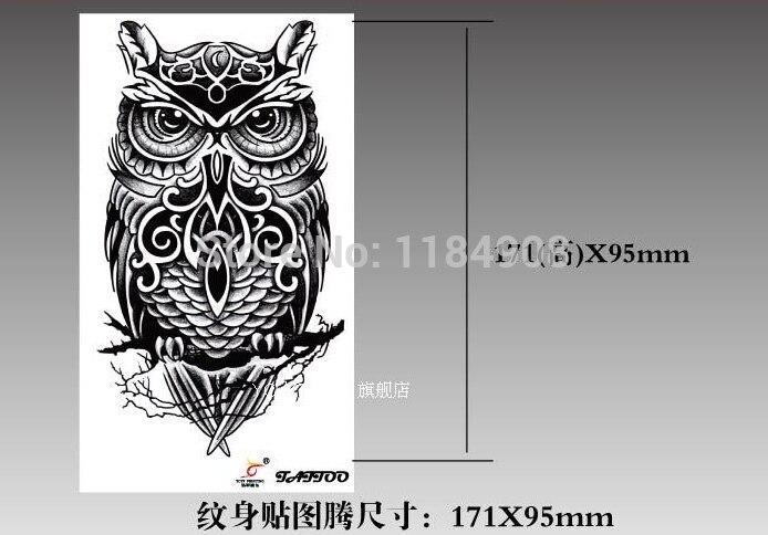 Privremene tetovaže velika crna sova ruka lažni prijenos tetovaža - Tetovaže i tjelesna umjetnost - Foto 2