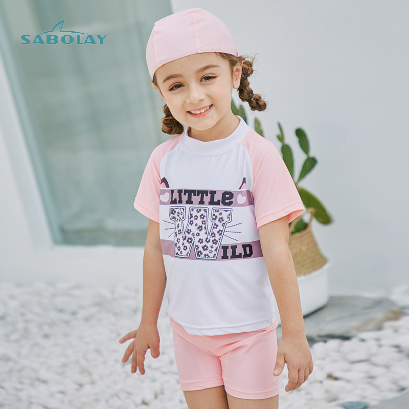 Short Shirt And Pants Swimwear Kids Grils Rash Guard Child Swimsuit Sun Protection (UPF 50+) Bathing Suit Toddler Children