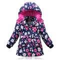 Venda quente 3 Cores Crianças Crianças Jaqueta de Inverno Com Capuz De Pele grosso Outerwear Bebê meninas Inverno Quente para baixo Casacos E Jaquetas T0114