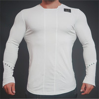 Mens T Shirts Fashion Brand Autumn New Leisure T Shirt Tops Men Fitness Bodybuilding Long Sleeve