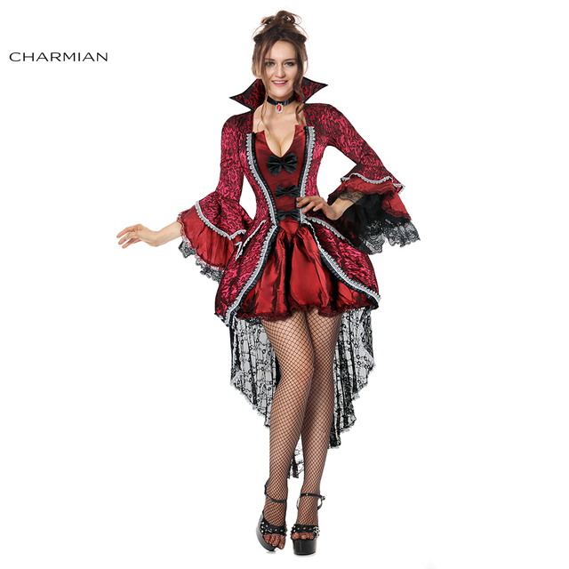 6772a434a6b60 Charmian Gothic Victorian Vampiress Halloween Costume for Women Vampire  Cosplay Costume Dress Fantasias Carnival Costume-in Clothing from Novelty &  ...