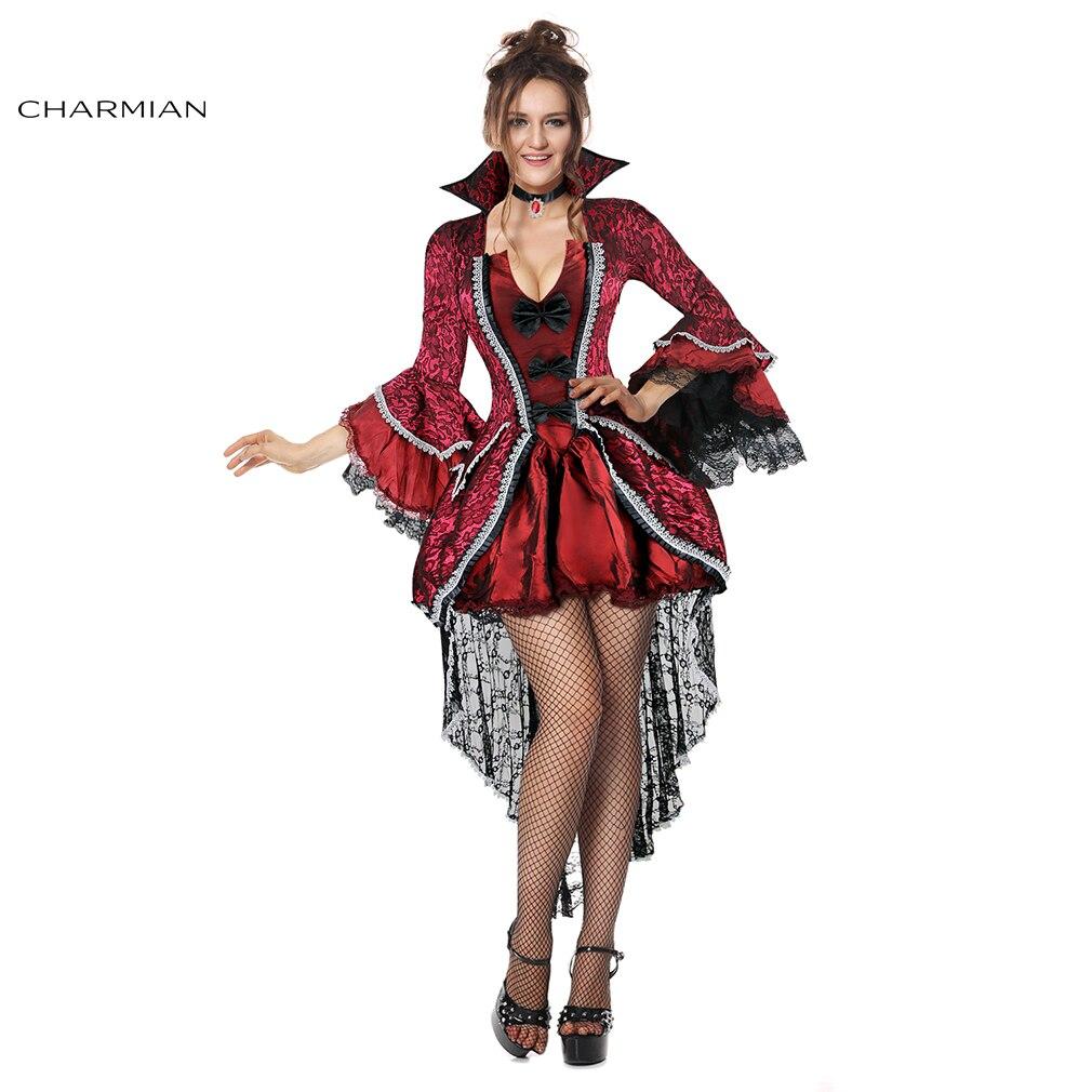 charmian gothic victorian vampiress halloween costume for women vampire cosplay costume dress fantasias carnival costume - Halloween Costumes Victorian