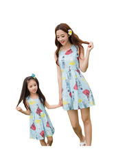 Fashion Mom And Daughter Dresses Sleeveless O neck Cotton Family Look Girl And Mother Family Matching
