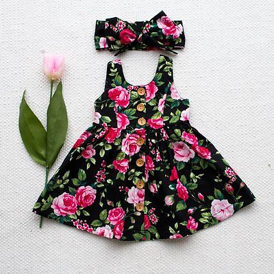 Summer Cute Toddler Kids Baby Girl Dress Floral Party Wedding Dresses Princess Sundress Headband Outfits