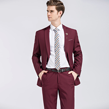 12 Color 2pcs Slim Fit Suits Men Notch Lapel Business Wedding Groom Leisure Tuxedo 2017 Latest Coat Pant Designs S-4XL