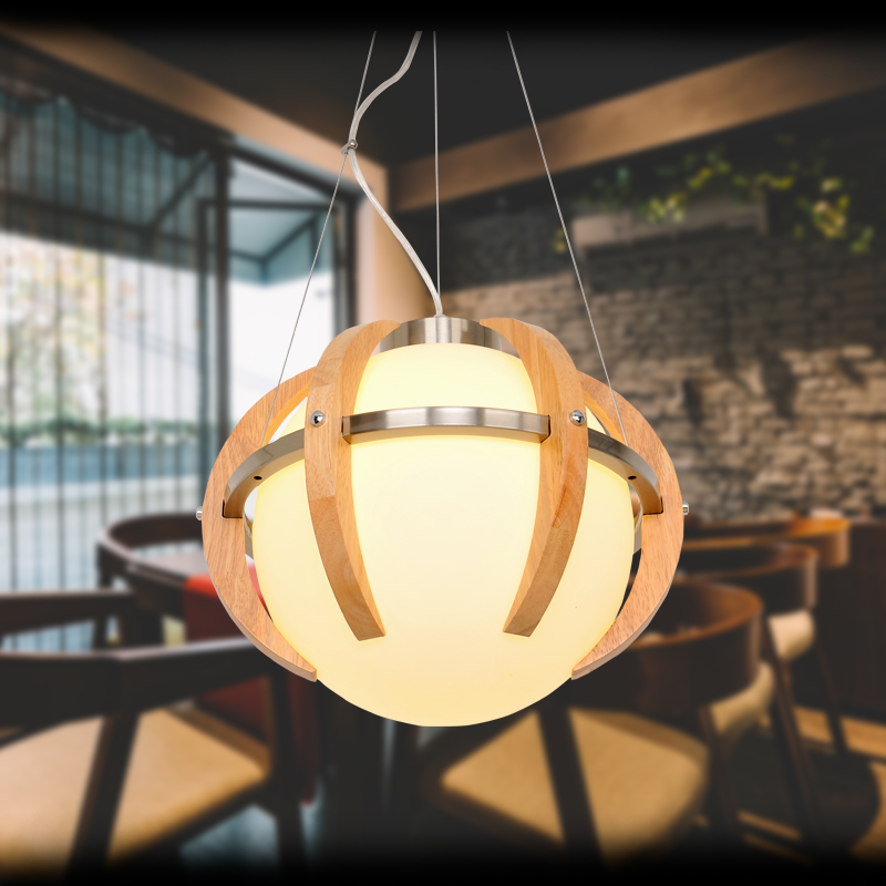 Europe to the Nordic Minimalist Garden Restaurant creative spherical solid wood chandelier chandelier personality bar YA72614 vintage clothing store personalized art chandelier chandelier edison the heavenly maids scatter blossoms tiny cages