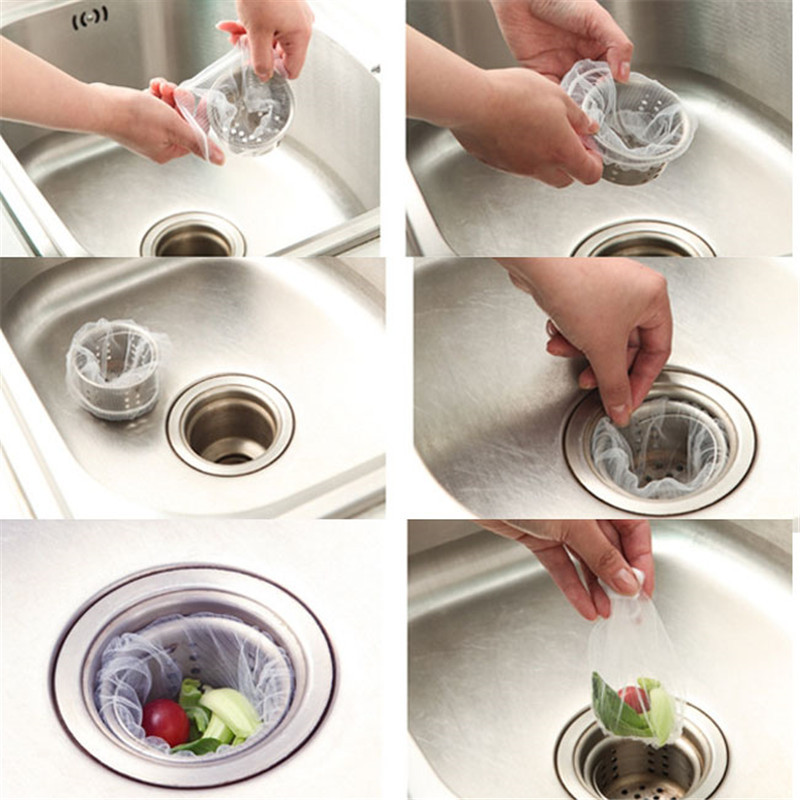 30pcs disposable nylon sewer filter bag waste stopper rubbish bag floor drain kitchen sink - Kitchen Sink Filter
