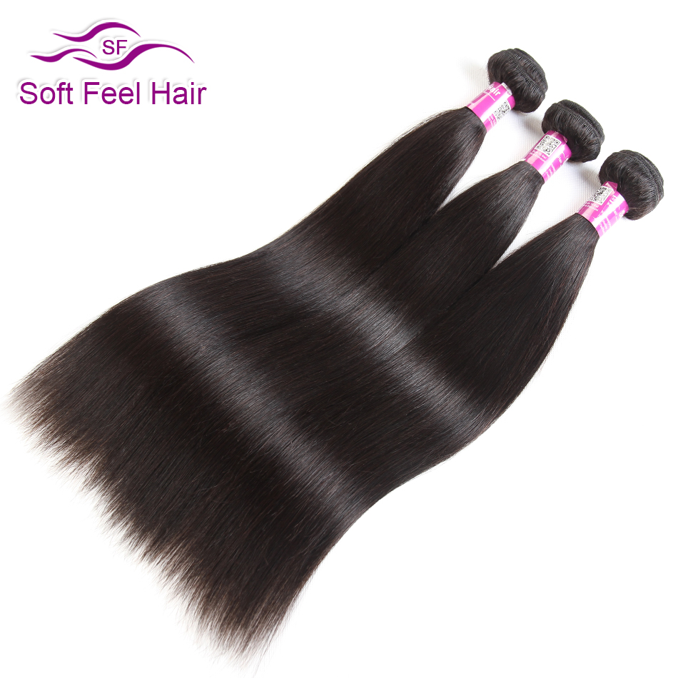 Brazilian Straight Hair Bundles Remy Human Hair Extensions Soft Feel Hair Weave 3 Bundles Deal Natural