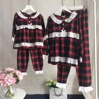 Family Matching Clothes Turn Down Collar Single Breasted Plaid Printed Mother Father And Baby Boys Girls