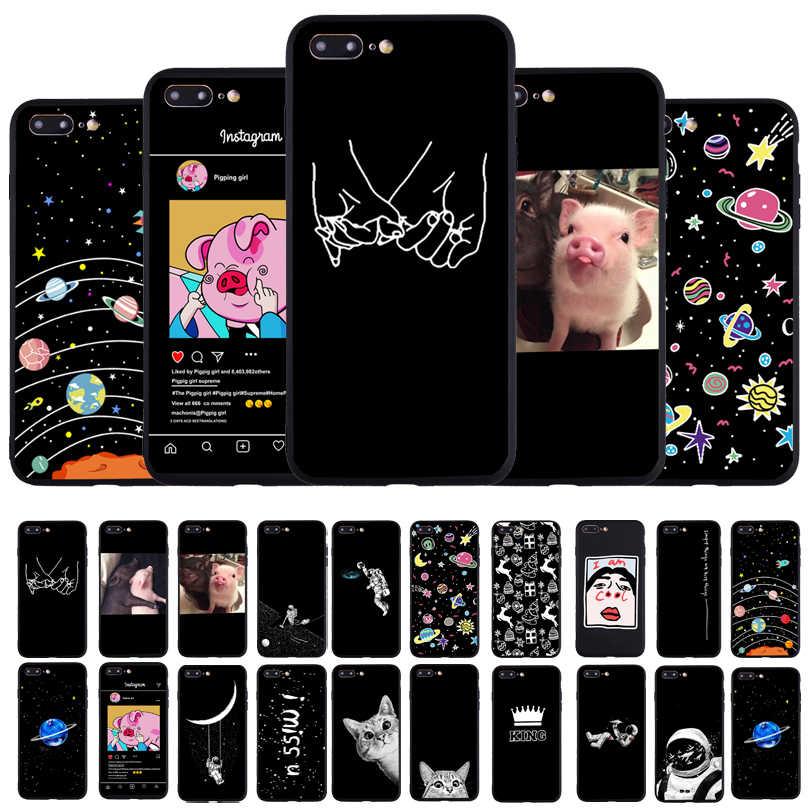 Śmieszne kochanka świnia druku telefon etui dla iphone'a x XS 11Pro Max XR Case dla iphone 6 6S 5 5S 7 8 plus SE miękkie etui tpu etui dla par