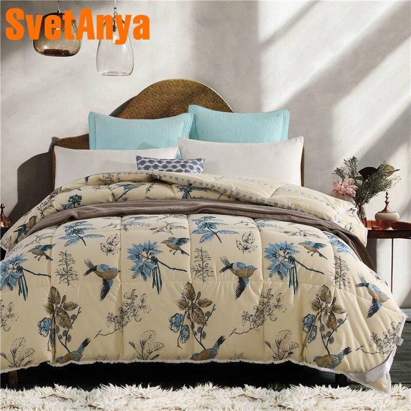 Svetanya толстые Стёганое одеяло хлопок бросает Одеяло 200x230 см 3,2 кг 150x200 см 2,1 кг птица Olive филиал печатных