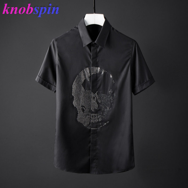 Mode perles crâne chemise hommes haute qualité pur coton à manches courtes d'été hommes chemises 4 couleurs grande taille Camisas masculina