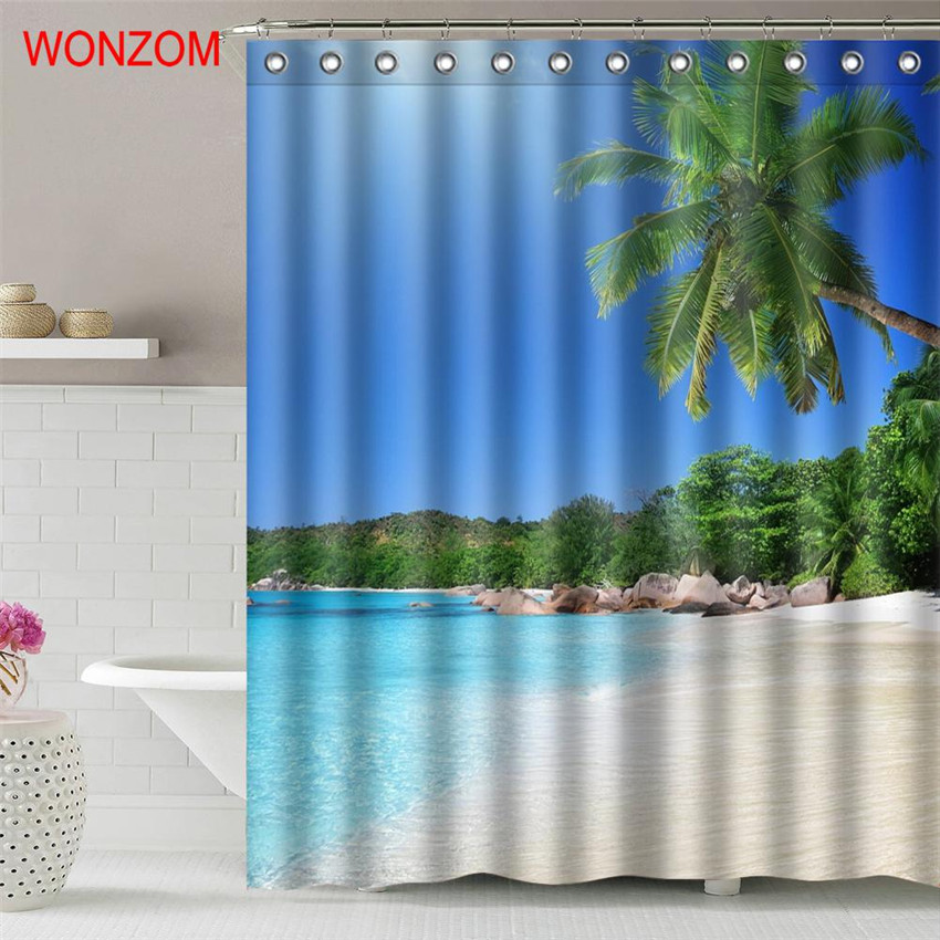 WONZOM Wave Beach Waterproof Shower Curtain Serenity Bathroom Decor Landscape Decoration Cortina De Bano 2017 Bath Curtain Gift