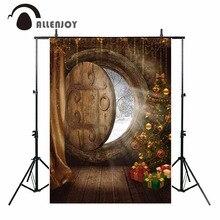 Allenjoy fundos para fotografia estúdio de natal foto a árvore de natal presente log porta celebração fundo photocall
