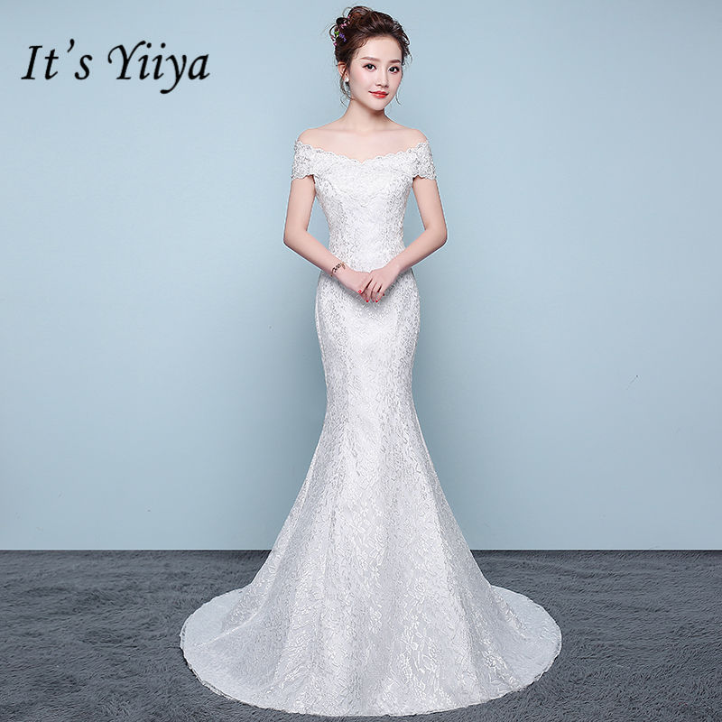 It's YiiYa New Skinny Trumpet Wedding Dresses Sexy Boat Neck Floor Length Bride Frock Vestidos De Novia XXN201
