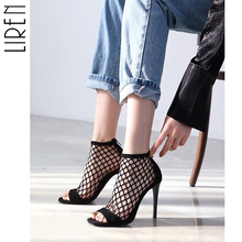 купить Liren Gladiator Sandals Women High Heels Party Show Shoes Woman Summer Short Sexy Boots Open Toe Pumps Rome Ankle Booties по цене 1487.6 рублей