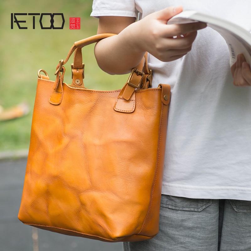 AETOO Handmade cowhide handbag, simple leather shoulder crossbody bag, female retro British style handbag