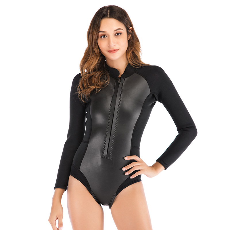 SBART One piece 2MM Women Wetsuit Long Sleeve black Shorty Dive Suit Neoprene Smooth Skin Open