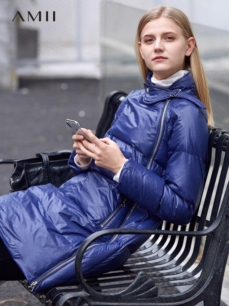 Amii 2018 vestes hiver femmes chaud solide asymétrique fermeture éclair col montant épais nouveau a-ligne Long Parkas manteau