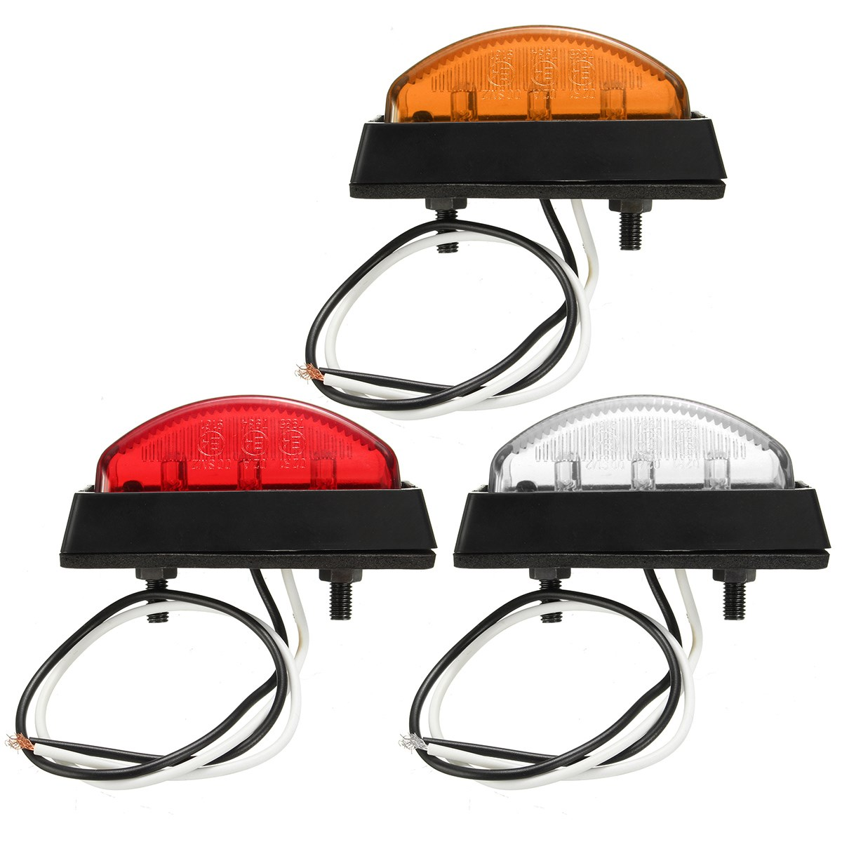 6LED Red White Amber 6 LED Clearence Truck Bus Trailer Side Marker Indicators Light Lamp Lorry Caravan 12V 24V E4