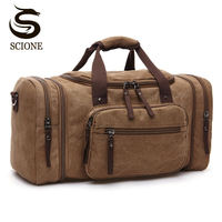 Large Capacity Men Hand Luggage Travel Duffle Bags Canvas Travel Bags Weekend Shoulder Bags Multifunctional Overnight