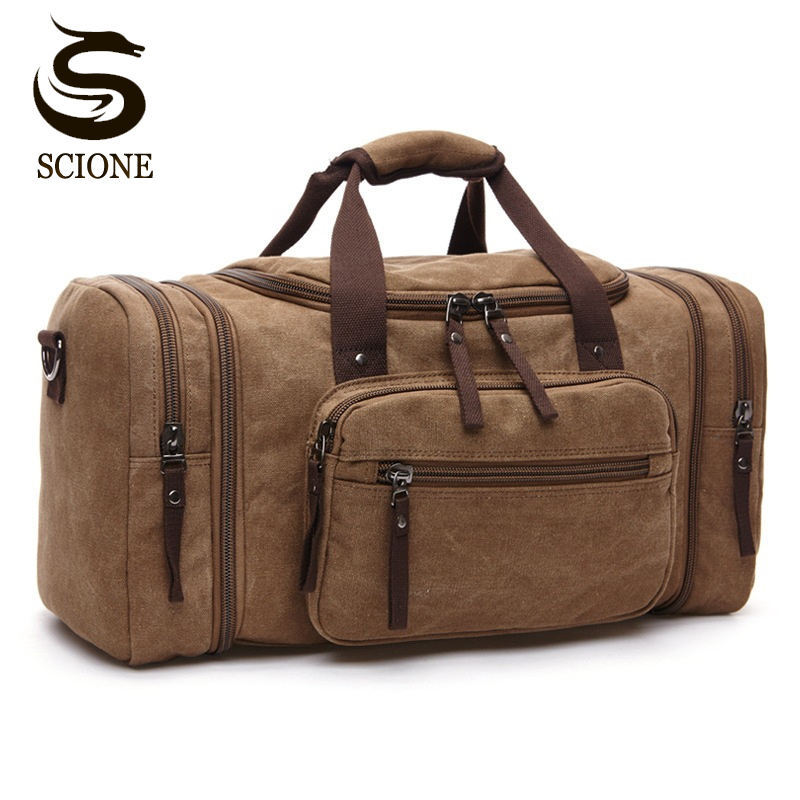 Large Capacity Men Hand Luggage Travel Duffle Bags Canvas Travel Bags Weekend Shoulder Bags Multifunctional Overnight Duffel Bag m large duffel bag travel bags