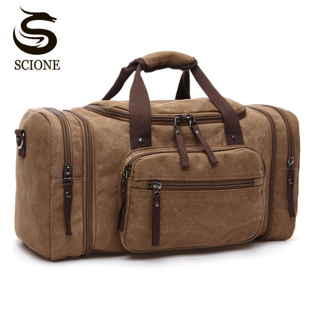 Large Capacity Men Hand Luggage Travel Duffle Bags Canvas Weekend Shoulder Multifunctional Overnight