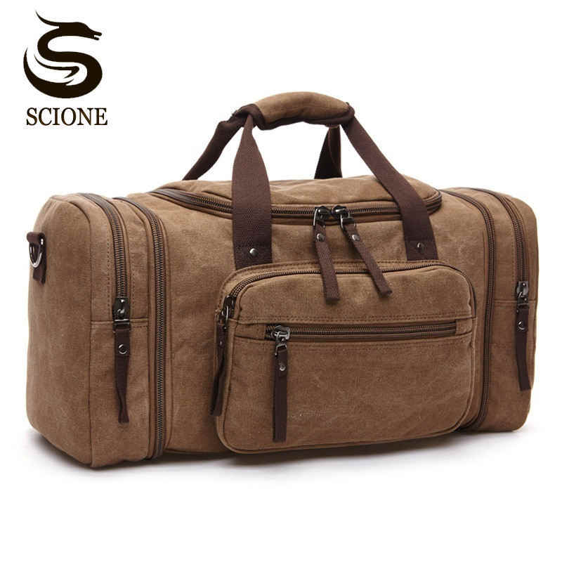 5f1db0bfa Large Capacity Men Hand Luggage Travel Duffle Bags Canvas Travel Bags  Weekend Shoulder Bags Multifunctional Overnight