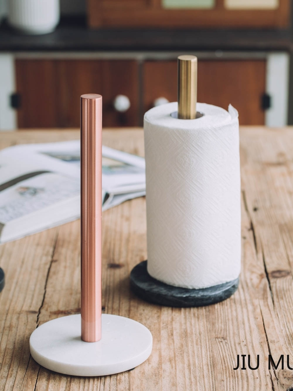 Nordic style marble brass paper towel holder Simple creative home kitchen vertical punch free roll holder